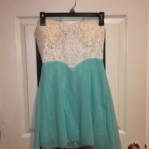 Strapless White Lace and Teal dress